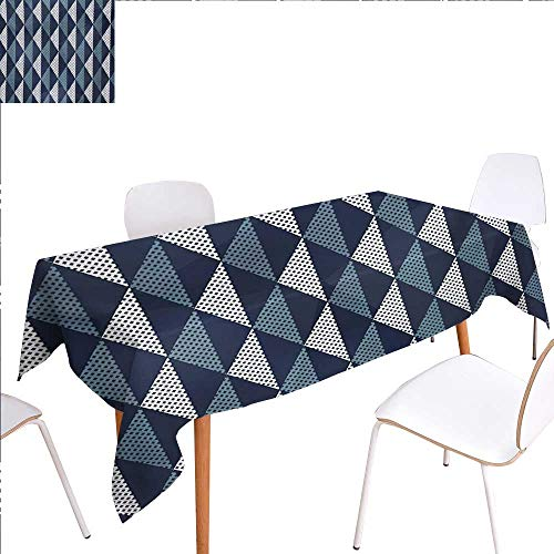 familytaste Geometric Dinning Tabletop Decoration Rhombuses and Dots Composition of Abstract Shapes Retro Revival Table Cover for Kitchen 60
