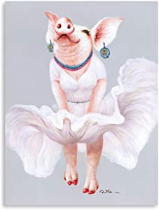 B BLINGBLING Pig Canvas Wall Art: Kawaii Pig Cosplay Marilyn Monroe Room Decor Asthetic Room Decore with Frame and Ready to Hang (24
