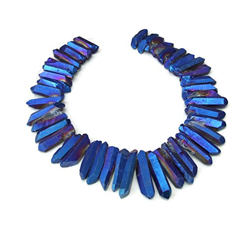 Indigo AB Blue Titanium Quartz Crystal Points. Excellent Gemstones for Jewelry Making. Rough Raw Quartz Jewelry Stones. Full Strand - 20mm - 40mm (Strand Beads Full Pendant)
