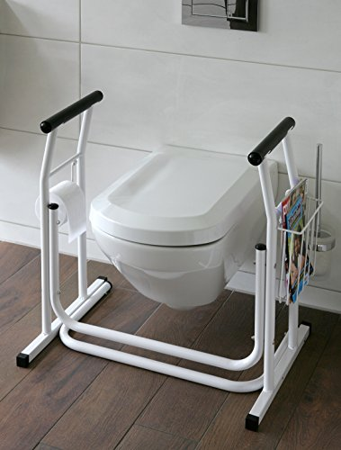 WC-Aufstehhilfe inkl. Ablagekorb & Toilettenpapierhalter Jetzt mit Teleskop Gehstock4