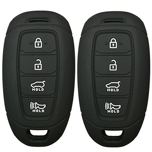 2Pcs Coolbestda Rubber 4 Buttons Key Fob Remote Cover Case Protector Keyless Jacket for Hyundai Kona Azera Grandeur IG Black