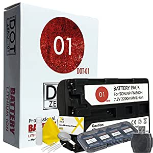 DOT-01 Brand 2200 mAh Replacement Sony NP-FM500H Battery for Sony A200 Digital SLR Camera and Sony FM500H Accessory Bundle with BONUS Lens Blower Brush Cleaning Kit and Hard Memory Card Case