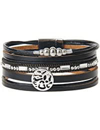 Geniune Leather Cuff Bracelet - Snowflake Alloy Beads and...