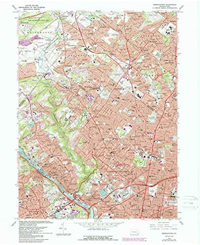 YellowMaps Germantown PA topo map, 1:24000 Scale, 7.5 X 7.5 Minute, Historical, 1967, Updated 1988, 27 x 22 in - Polypropylene ()