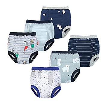 BIG ELEPHANT Unisex-Child Toddler Potty 6 Pack Cotton Pee Coaching Pants Underwear