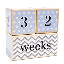 Solid Wood Milestone Age Blocks | Choose From 3 Different Color Styles (Blue) | Baby Age Photo Blocks | Perfect Baby Shower Gift and Keepsake by LovelySprouts