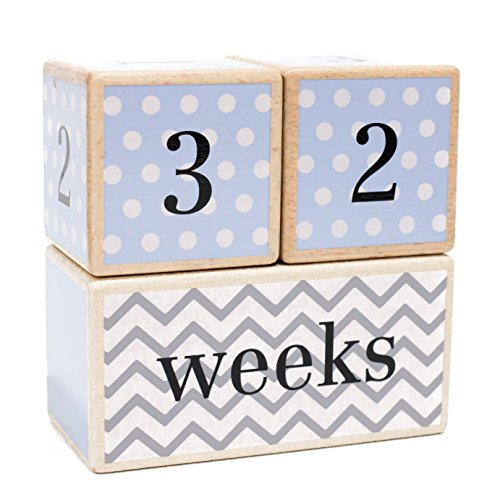 ilestone Age Blocks | Choose From 3 Different Color Styles (Blue) | Baby Age Photo Blocks | Perfect Baby Shower Gift and Keepsake by LovelySprouts ()