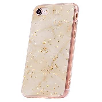 QULT Carcasa para Móvil Compatible con iPhone 6 iPhone 6S Funda marmol Oro Blanco Silicona Flexible Bumper Teléfono Caso para iPhone 6/6S Marble Gold ...