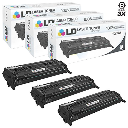 LD Remanufactured Replacements for Hewlett Packard 124A (Q6000A) Pack of 3 Black Toner Cartridges for Color LaserJet 1600, 2600n, 2605dn, 2605dtn, CM1015mfp and CM1017mfp