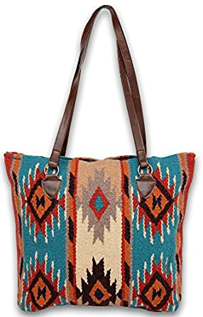 large tote bag southwest and native american designs on handwoven wool with vegan leather straps - Large Tote Bags