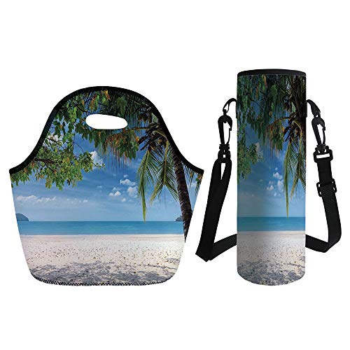 3D Print Neoprene lunch Bag with Kit Neoprene Bottle Cover,Summer,Tropical Beach Ocean behind Palm Tree Caribbean Exotic Holiday Image,Sky Blue Fern Green Beige,for Adults Kids
