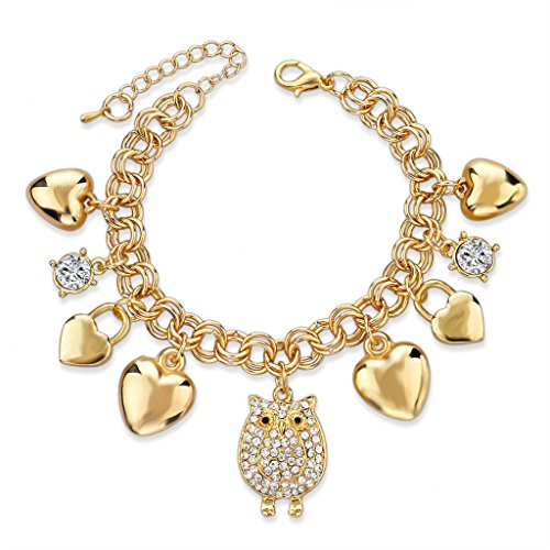 Gold Charm Bracelets (Long Way Summer Style Bracelets for Women Owl Love Pendant Charm Bracelets Bangles Friendship)