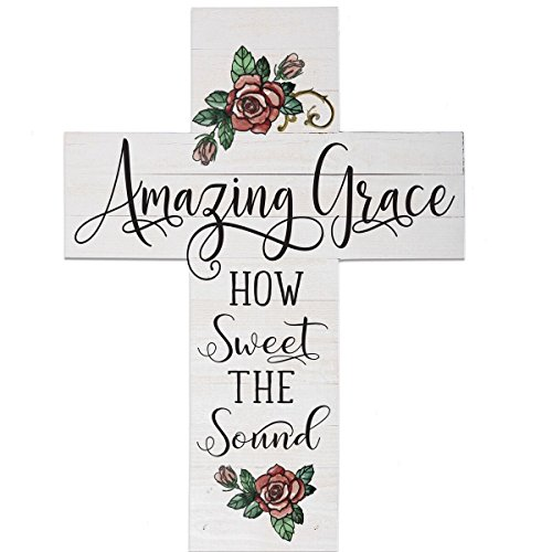 LifeSong Milestones Amazing Grace How Sweet The Sound Large Wooden Wall Cross Home Decoration Wall Art Decor Print 14 x19