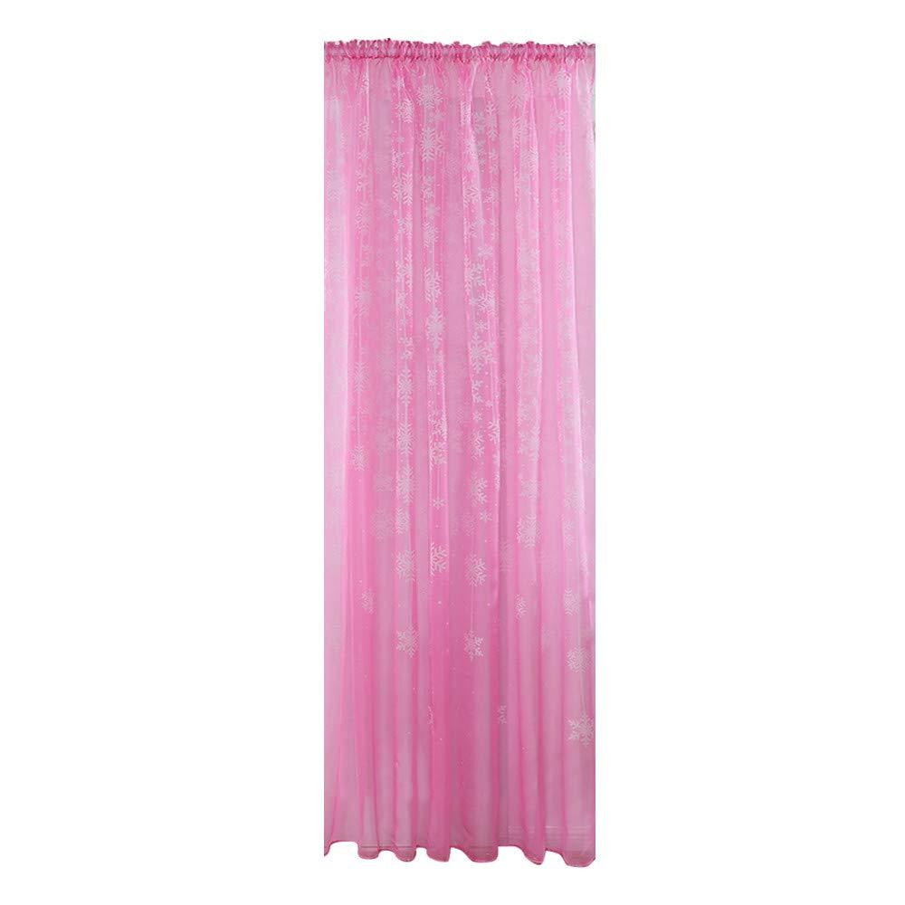 lotus.flower Christmas Snowflake Curtain, Xmas Inspired Winter Season Theme Curtain Tulle Window Treatment Voile Drape Valance for Living Room Bedroom (100x200cm, Pink)