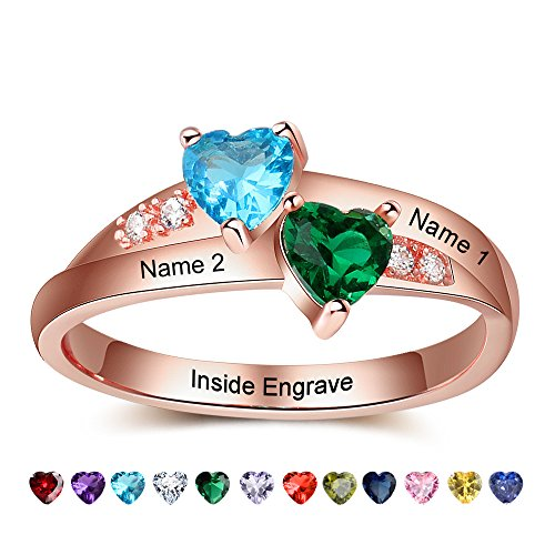 Lam Hub Fong Personalized Rose Gold AAAA Cubic Zirconia Created 2 Birthstone Promise Rings For Her Couples Engagement Rings For Women Mothers Rings Size 8 (Gold Two Stone)
