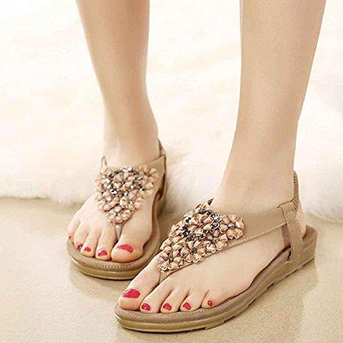 Culater® Women Fashion Sweet Beaded Clip Toe Flats Bohemian Herringbone Sandals Khaki brHVvb2Zc