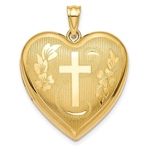 - 14k Yellow Gold 24mm Cross Religious Ash Holder Heart Photo Pendant Charm Locket Chain Necklace That Holds Pictures Inspiration Fine Jewelry Gifts For Women For Her