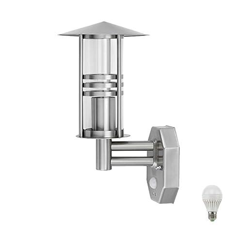 Lámpara de pared Farol Acero Inoxidable Exterior Hogar Puerta Detector de movimiento lámpara en Juego,