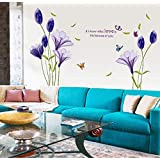 Fashion Purple Tulips Flowers Wall Stickers For Living Room Diy 3d Home Decor