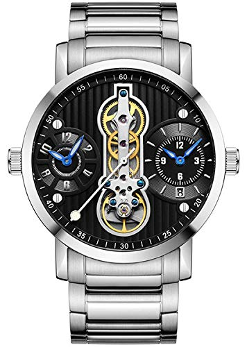 Men's Steampunk Design Automatic Mechanical Watch Waterproof Stainless Steel Skeleton Watch (Silver Black)