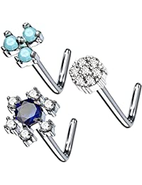 3PCS 20G Nose Ring L-Shape Stud CZ Surgical Steel Nostril Piercing Jewelry Set