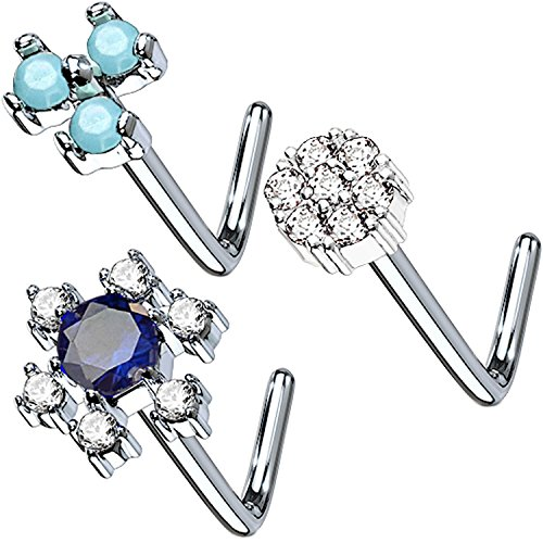 Flowers Nose Ring (BodyJ4You 3-Pack 20G Nose Ring L-Shape Bend Stud Screw CZ Flower Surgical Steel Nostril Ring Piercing)
