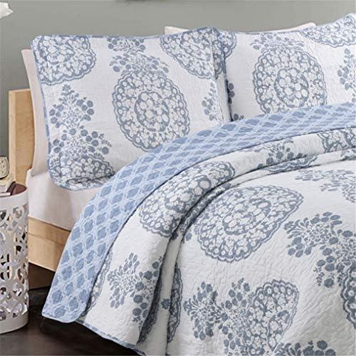3 pièces édredon complet 230 x 250 cm Couvre-lit shabby chic, deux taies d'oreiller en pur coton 50 * 70cm, bleu