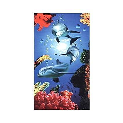 Toalla de playa, diseño de delfines, color coral