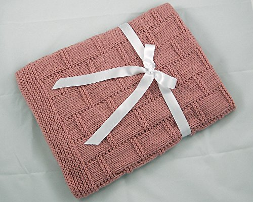 Pink Hand Knit Baby Blanket by Custombearhug 31 by 34 Inches by CustomBearHugs