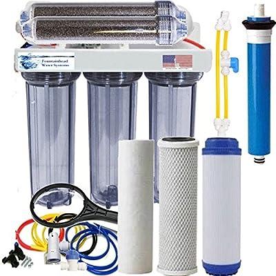 Aquarium Reef Reverse Osmosis & Deionization System Clear Manual Flush 75 GPD.