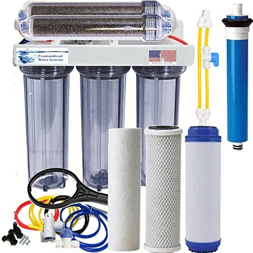 RO/DI Reverse Osmosis Aquarium/Reef System 6 Stage Clear Manual Flush Valve 100 GPD by Fountainhead Water Systems