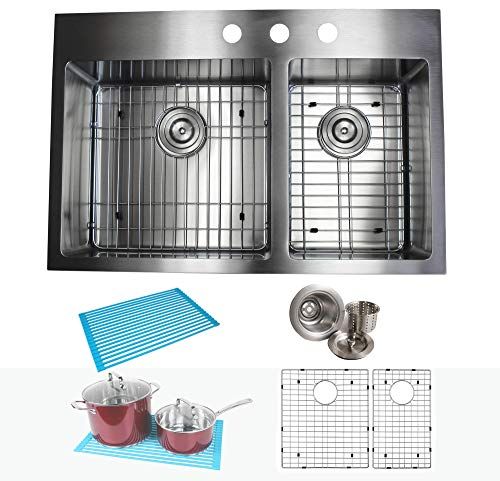 33 Inch Drop In Topmount Stainless Steel Kitchen Sink Package 16 Gauge Double 60/40 Bowl Basin w/ 9 Gauge Deck - Complete Sink Pack (Package Stainless Sink)