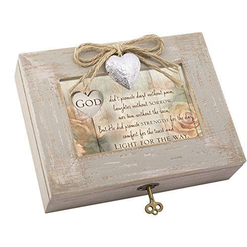 Cottage Garden God Promise Strength Natural Taupe Wood Locket Music Box Plays How Great Thou Art