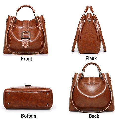 Bag Brown Oil Female Handbag Women's Retro Bag Sets Messenger Shoulder Wallet Soft of Bag 3 Bag Mother New Tisdaini S7xUIEqYw