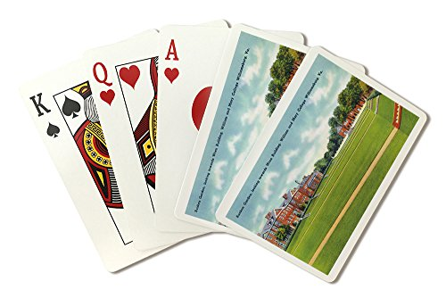 Williamsburg, VA - William and Mary College View of the Sunken Garden, Wren Building - Vintage Halftone (Playing Card Deck - 52 Card Poker Size with Jokers) (Building Wren)