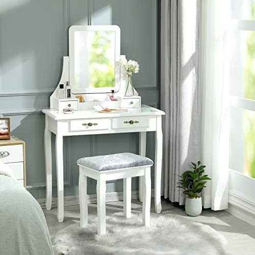 Vanity Set with Bench and 360 Rotating Rectangular Mirror, Makeup Vanity Table Set, Dressing Table with Movable Storage Box, White