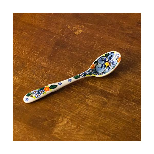 Polish Pottery, Handpainted and Handcrafted Ceramic Spoon ― Blue Flowers Artistic Pattern (A506)