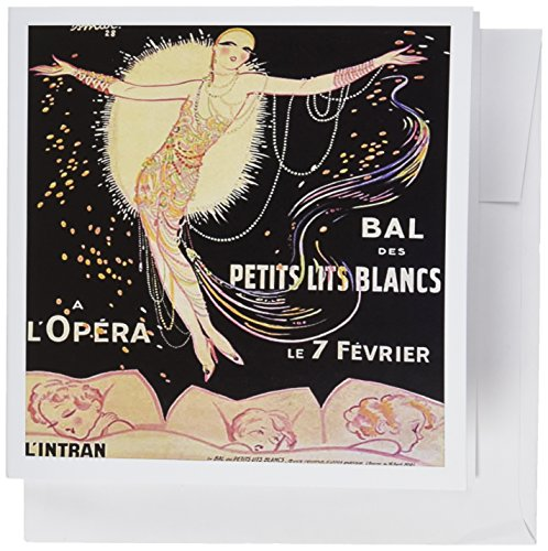 3dRose French Art Deco Flapper - Greeting Cards, 6 x 6 inches, set of 6 (gc_162459_1)