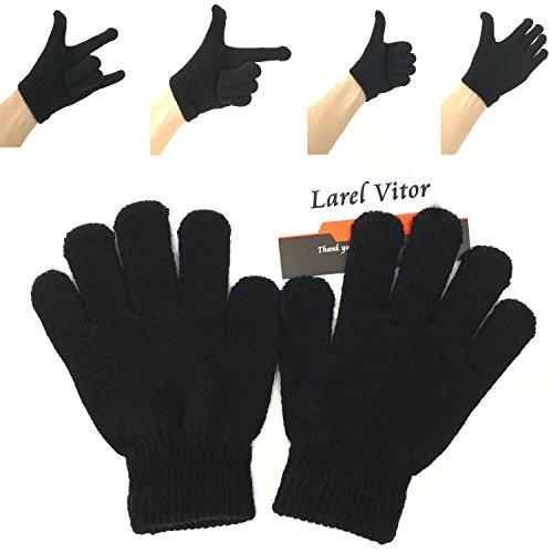 Black Kids Mitten - Knit Mittens Gloves For Kids Winter Magic Knit Gloves for Girls/Boys Solid Warm Gloves Black