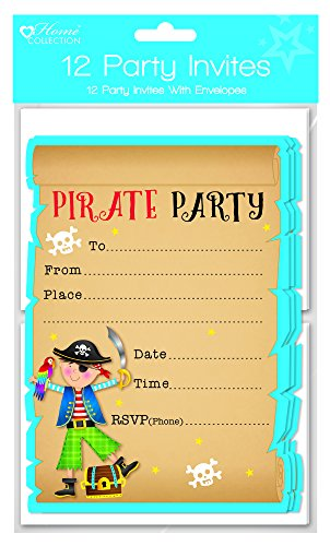 (12 Blue Pirate Party Invites With Envelopes)