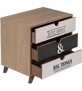 Mini Kommode Schrank 3 Schubladen Schränkchen Box Herz H27xB21xT9cm Shabby Look
