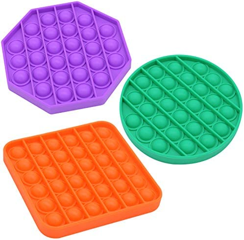 3Pack Fidget Toy, Bubble Sensory Dimple Toys Autism ADHD Special Needs Stress Reliever Silicone Squeeze Toy Bubble Wrap Toy Suitable for Children, Adults, Elderly, and Friends