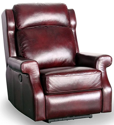 Mitchell Leather Furniture - Barcalounger Mitchell II Top Grain Leather Power Recliner - Mahogany