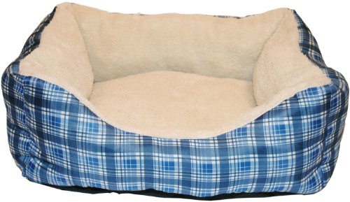 Brinkmann Pet 18-Inch by 14-Inch Plush Box Bed, Blue, My Pet Supplies