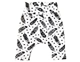 Baby and toddler pants with monochrome feathers