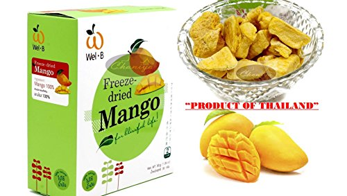 Crispy Freeze dried Fruit Mango Summer Fruit of Thailand Healthy Snack 100% all Natural Oil-Free 30 g. (1.06 Oz)