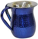 Ultimate Judaica Wash Cup Stainless Steel Hammerad Blue 5.5'' H