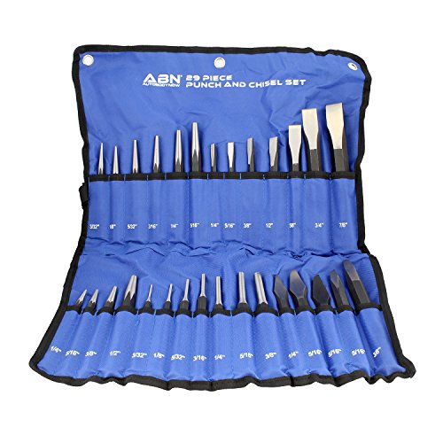 (ABN Cold Chisel Set Automotive Punch Tool Kit - 29-Piece Punch Chisel Set - Pin Punch Set, Center Punch Set,)