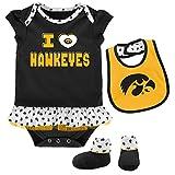 Outerstuff NCAA Iowa Hawkeyes Newborn & Infant Team Love Bib & Booties Set, Black, 6-9 Months