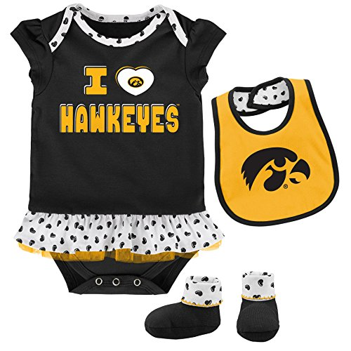 NCAA Iowa Hawkeyes Newborn & Infant Team Love Bib & Booties Set, Black, 0-3 Months by NCAA by Outerstuff
